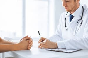 doctor and patient discussing acamprosate treatment