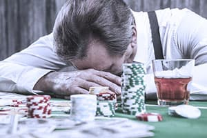 man dealing with gambling addiction